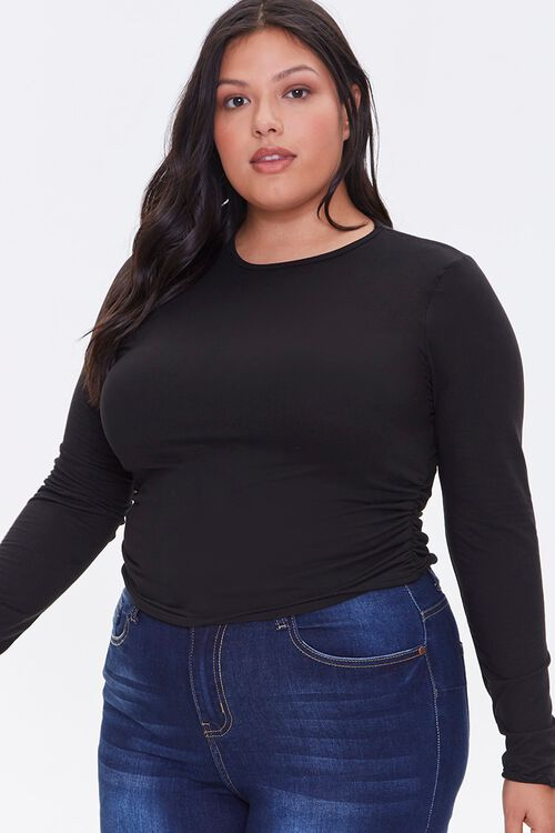 Plus Size Brushed Ruched Top, image 1