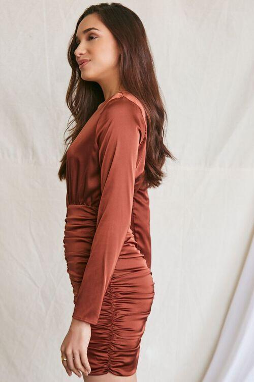 DARK BROWN Satin Ruched Mini Dress, image 2