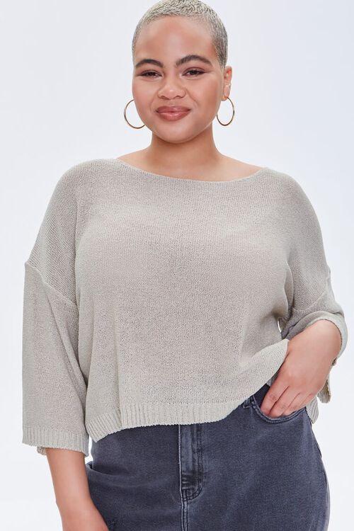 Plus Size Boat Neck Sweater, image 1