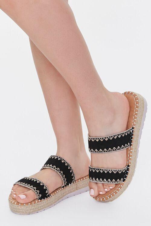 BLACK Threaded Espadrille Flatform Sandals, image 1