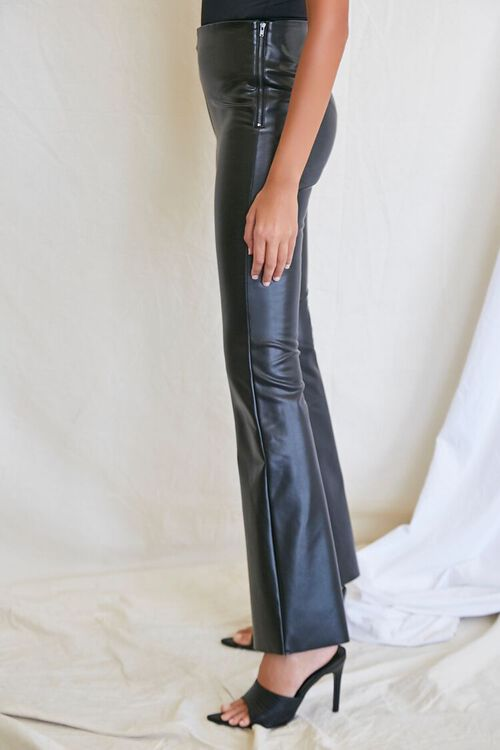 BLACK Faux Leather Flare Pants, image 3