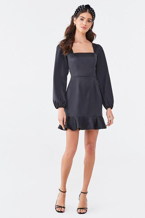 BLACK Flounce Satin Mini Dress, image 4