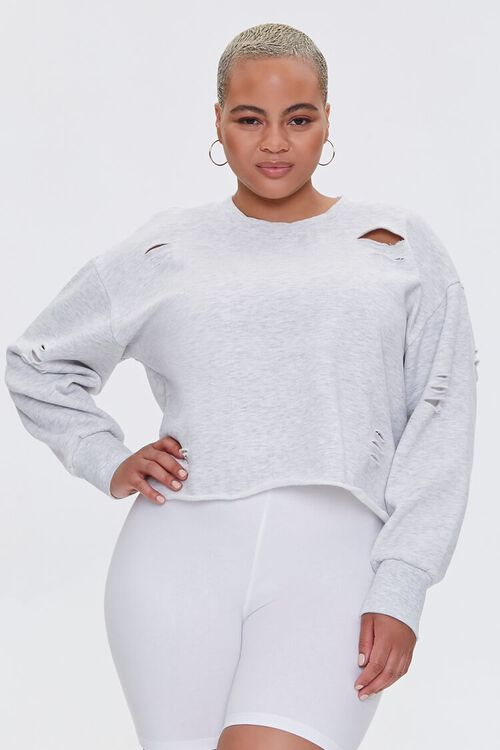 Plus Size Heathered Distressed Pullover, image 2