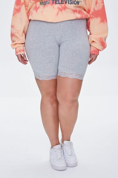 HEATHER GREY Plus Size Lace-Trim Biker Shorts, image 2