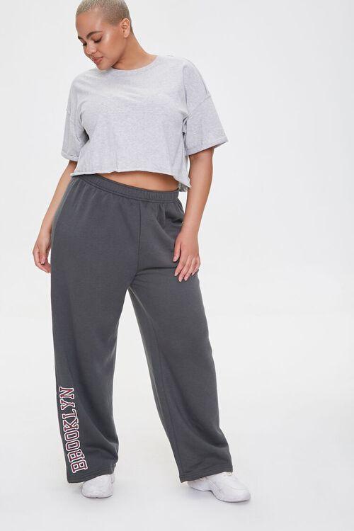 CHARCOAL Plus Size Brooklyn Graphic Sweatpants, image 1