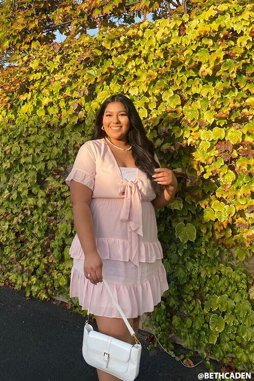 LIGHT PINK Plus Size Flounce Bow Dress, image 1