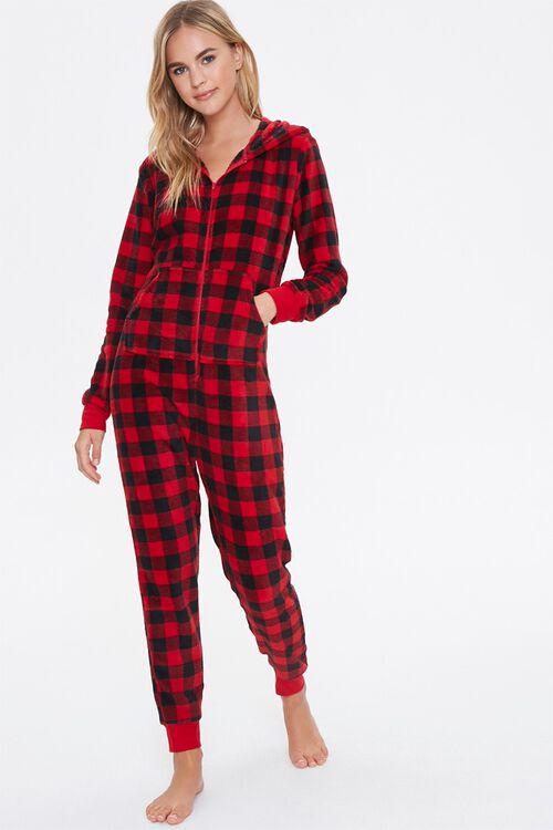 Plaid Hooded Pajama Jumpsuit, image 1