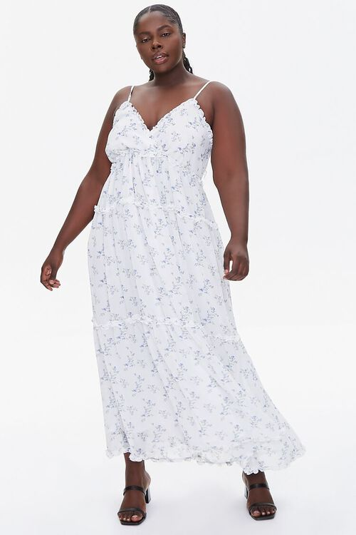 Plus Size Floral Print Chiffon Dress, image 4