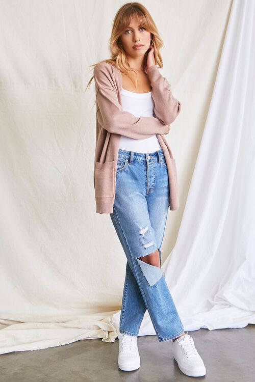 TAUPE Patch-Pocket Cardigan Sweater, image 4