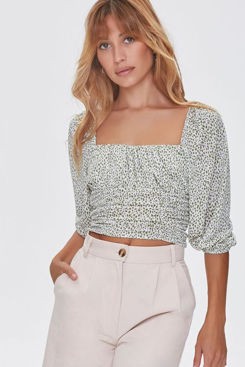 GREEN/CREAM Spotted Print Ruched Top, image 1