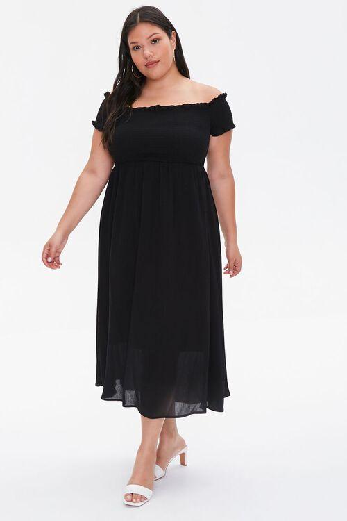 Plus Size Smocked Off-the-Shoulder Dress, image 1