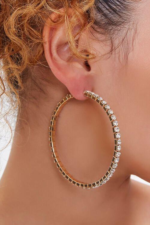 GOLD Rhinestone Box Hoop Earrings, image 1