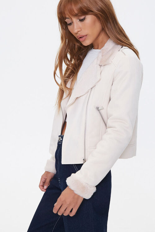Faux Fur-Trim Moto Jacket, image 2