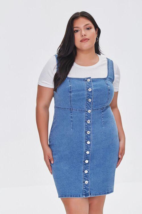 Plus Size Denim Pinafore Dress, image 1