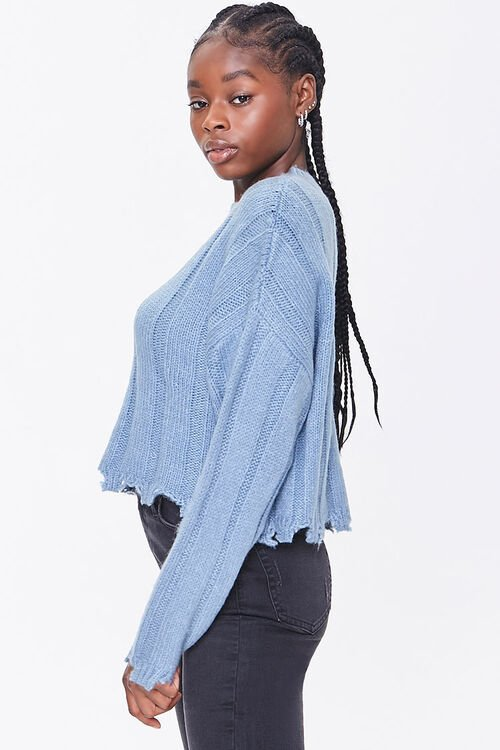 Ribbed Tattered-Trim Sweater, image 2