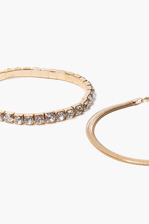 GOLD/CLEAR Box & Snake Chain Anklet Set, image 2