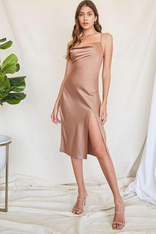 BROWN Satin Cowl Slip Dress, image 4