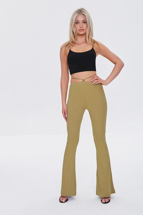 OLIVE Ribbed Knit Self-Tie Flare Pants, image 1