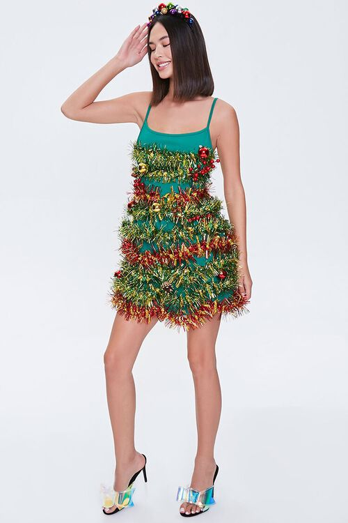GREEN/MULTI Tinsel Garland Mini Dress, image 4