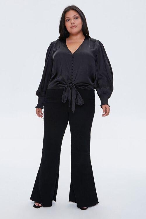 BLACK Plus Size Satin Tie-Front Top, image 4