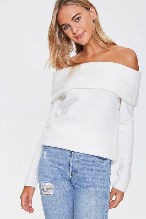 Off-the-Shoulder Ribbed Trim Sweater, image 1