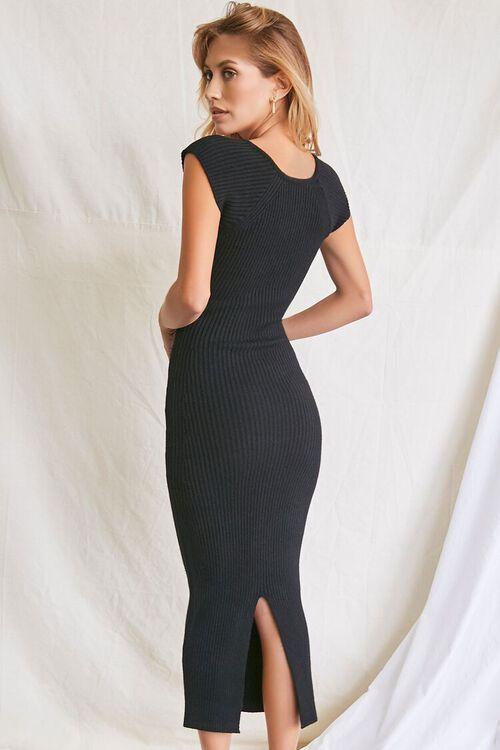 BLACK Sweater-Knit Ribbed Midi Dress, image 3