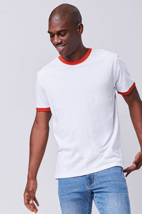 WHITE/RED Contrast-Trim Ringer Tee, image 1