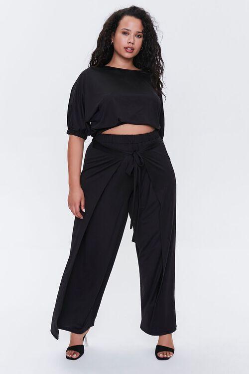 BLACK Plus Size Crop Top & Pants Set, image 2
