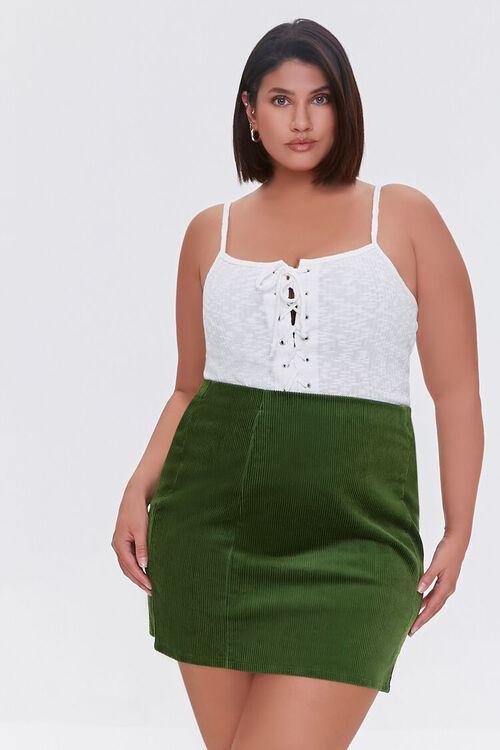 HUNTER GREEN Plus Size Corduroy Mini Skirt, image 6