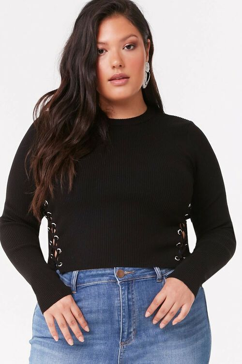 Plus Size Lace-Up Sweater, image 2