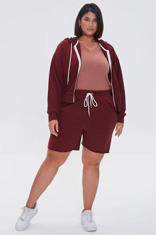 WINE Plus Size Fleece Zip-Up Hoodie, image 4