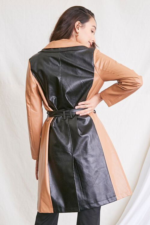 TAN/BLACK Colorblock Belted Duster Jacket, image 3