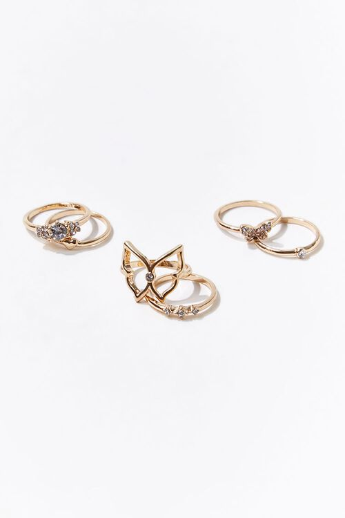 Faux Gem Butterfly Ring Set, image 1