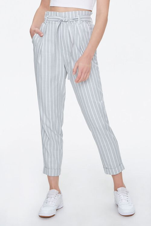Cuffed Striped Paperbag Pants, image 2