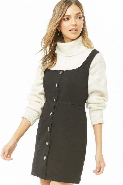 Button-Front Square Neck Dress, image 1