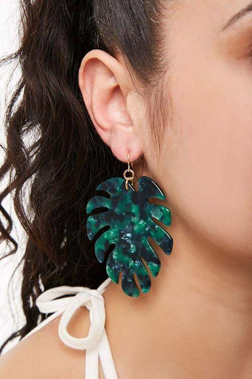GREEN Faux Stone Palm Leaf Drop Earrings, image 2