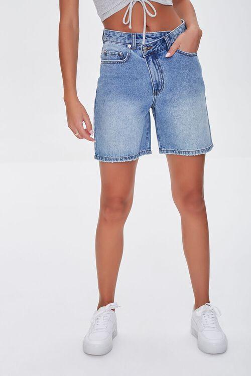 Crisscross Denim Bermuda Shorts, image 2