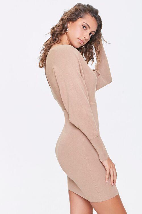 Surplice Mini Sweater Dress, image 2