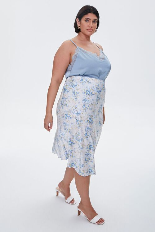 Plus Size Satin Floral Midi Skirt, image 5