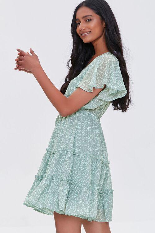 MINT/CREAM Tiered Speckle Print Mini Dress, image 2