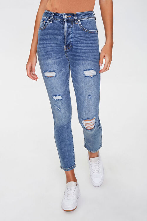 Distressed Ankle Mom Jeans, image 1