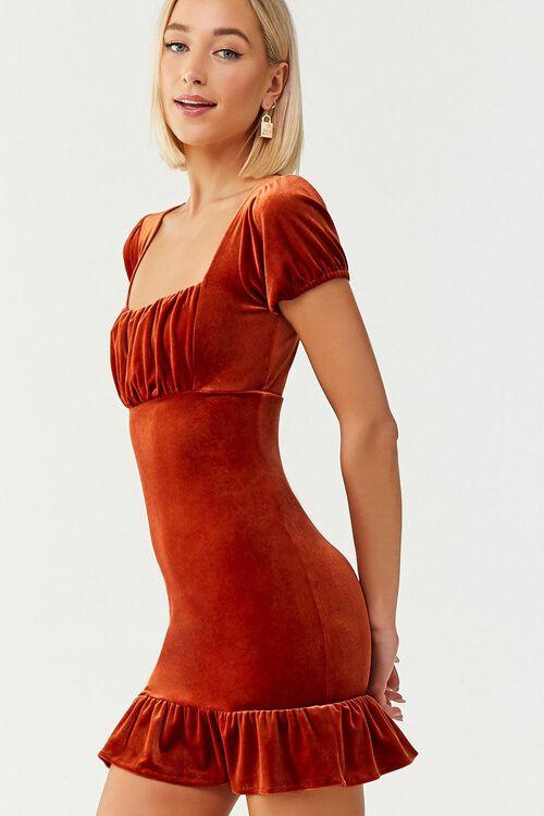 Velvet Short Sleeve Mini Dress, image 2