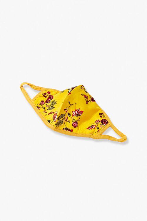 MUSTARD/MULTI Floral Print Face Mask, image 1