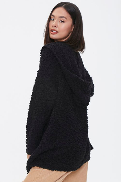 Textured Knit Open-Front Hoodie, image 2