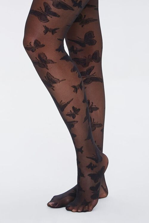 Sheer Butterfly Tights, image 1
