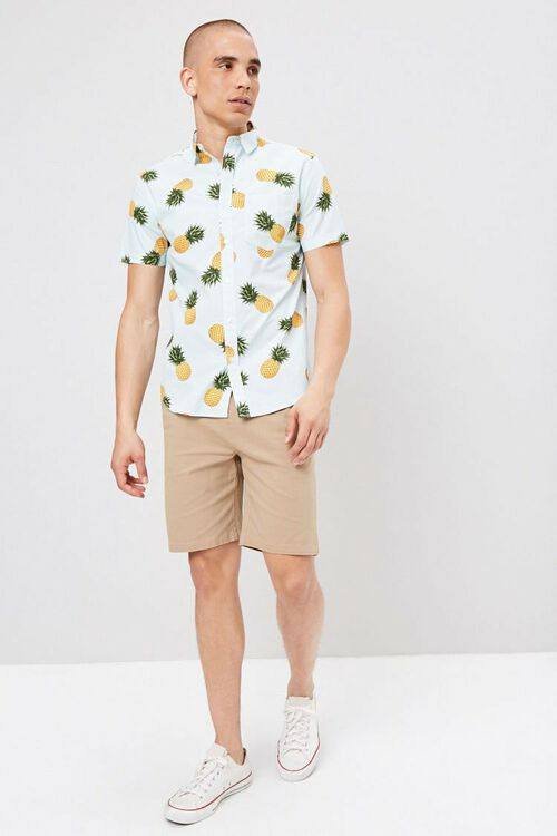 Fitted Pinstriped Tropical Print Shirt, image 4