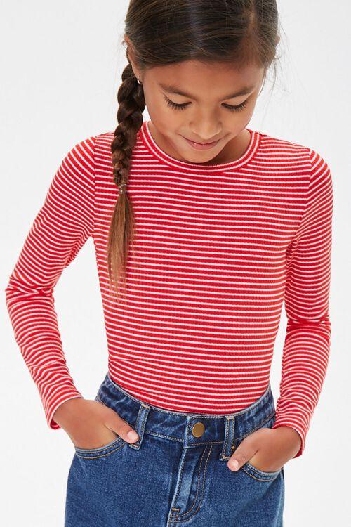 Girls Pinstriped Long Sleeve Top (Kids), image 1