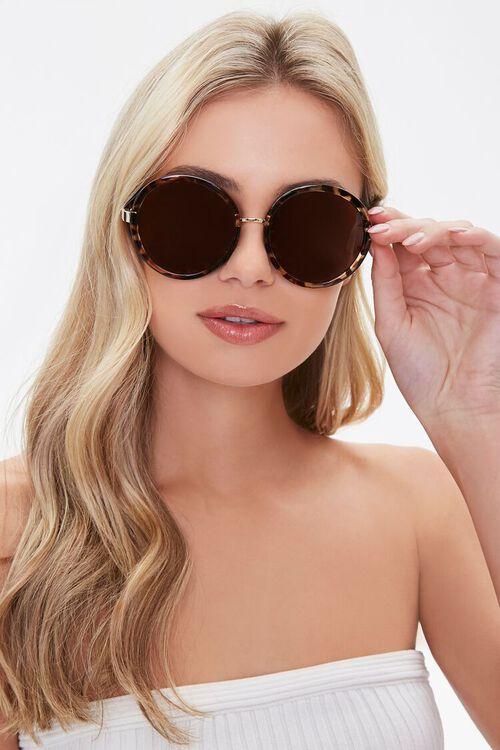 GOLD/BROWN Round Tortoiseshell Sunglasses, image 1