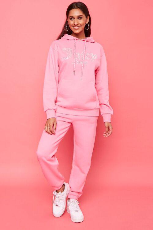 PINK/MULTI Juicy Couture Rhinestone Fleece Hoodie, image 4