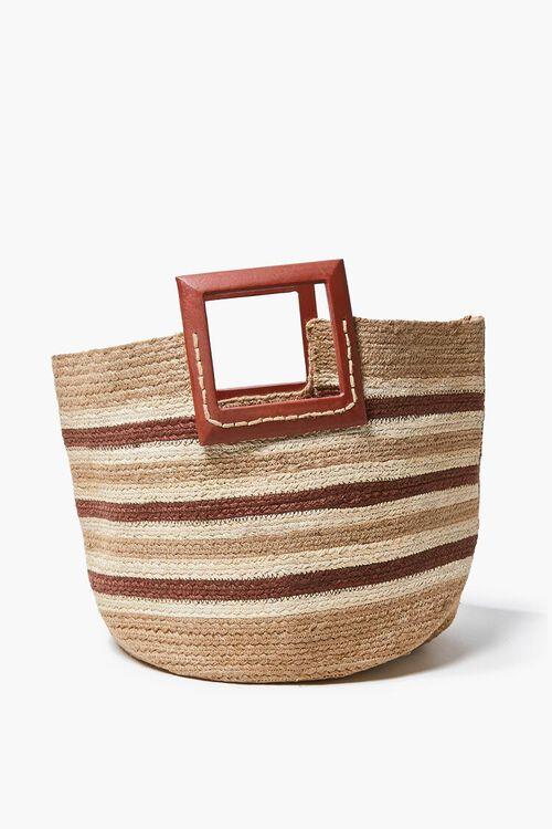 Striped Straw Tote Bag, image 1